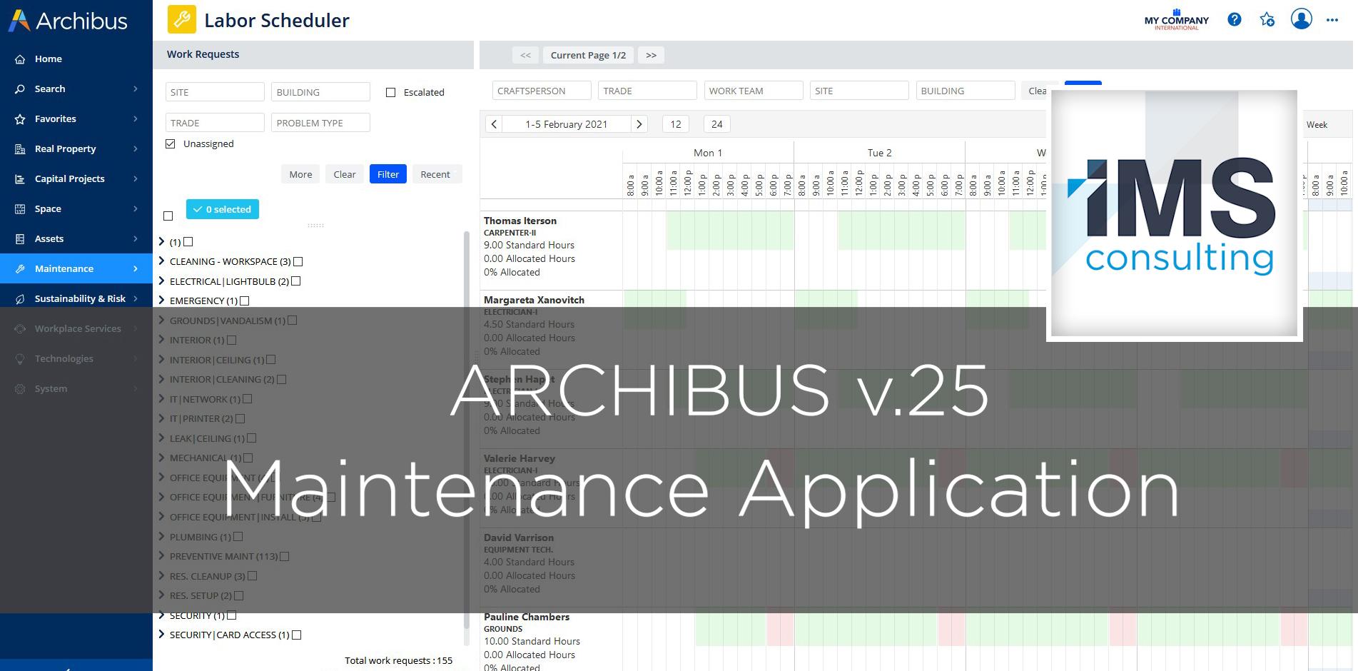 Archibus Maintenance v.25 - IMS Consulting